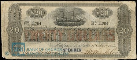 1864 merchant halifax bank note