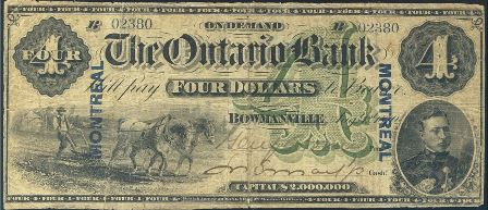 1870 Ontario Bank Note