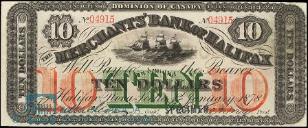 1878 merchants halifax bank note