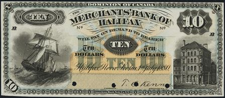 1880 merchants halifax bank note