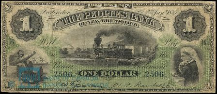 1885 fredericton bank note