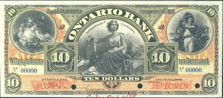 1888 Ontario Bank Specimen