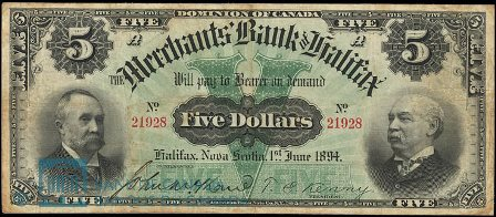 1894 merchants Halifax bank note