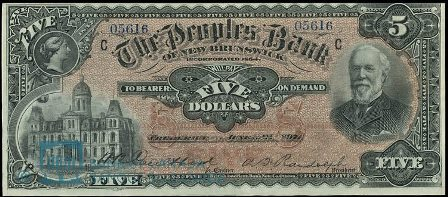 1897 fredericton bank note