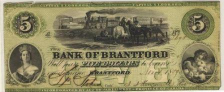 Bank of Brantford five dollar bill