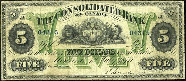 The Consolidated Bank of Canada in Montreal Banknote Values