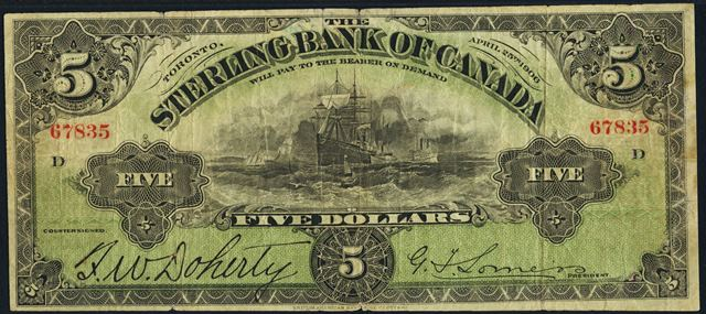 The Sterling Bank of Canada in Toronto Banknote Values