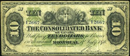 Consolidated Bank ten dollars