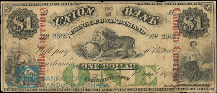 Union Bank PEI 1872 one dollar