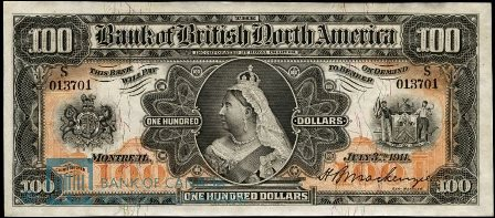 bank british north america 1911 100