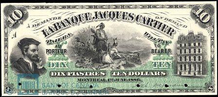 La banque jacques cartier in montreal banknote values for Banque des jardin