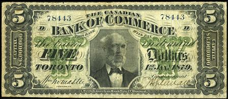 1907 $5 Bank Of Commerce,canada Great Varieties Other Canadian Paper Money