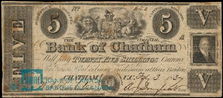 colonial bank of chatham five dollar bank note
