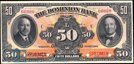 dominion bank 1931 50