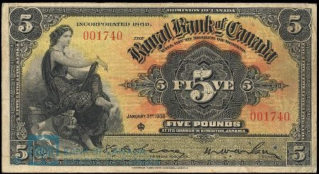 jamaica 1938 5 pounds