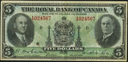 The Royal Bank Of Canada In Montreal Banknote Values