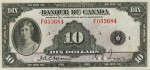 Value of 1935 $10 Bill from Banque Du Canada