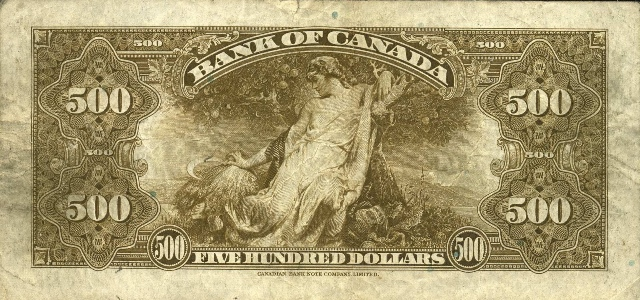 value of 1935 500 bill from the bank of canada canadian