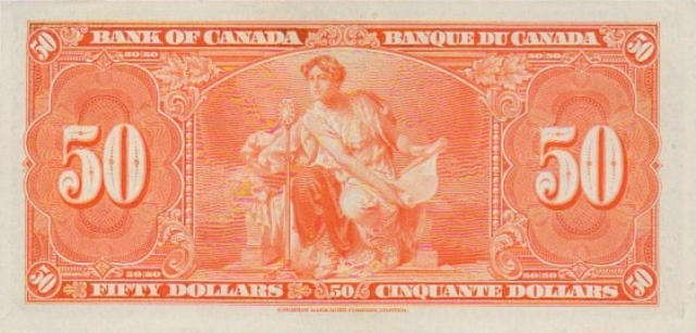 value of 2nd jan 1937 50 bill from the bank of canada