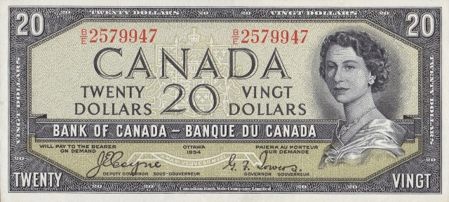 Value of 1954 Devils Face $20 Bill from The Bank of Canada
