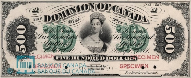 Dominion of Canada July 1st 1871 Five Hundred Dollar Bill