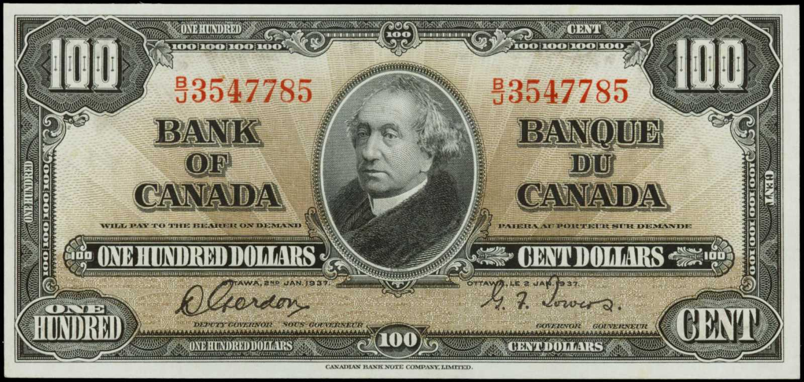 Value of 2nd Jan  1937 $100 Bill from The Bank of Canada