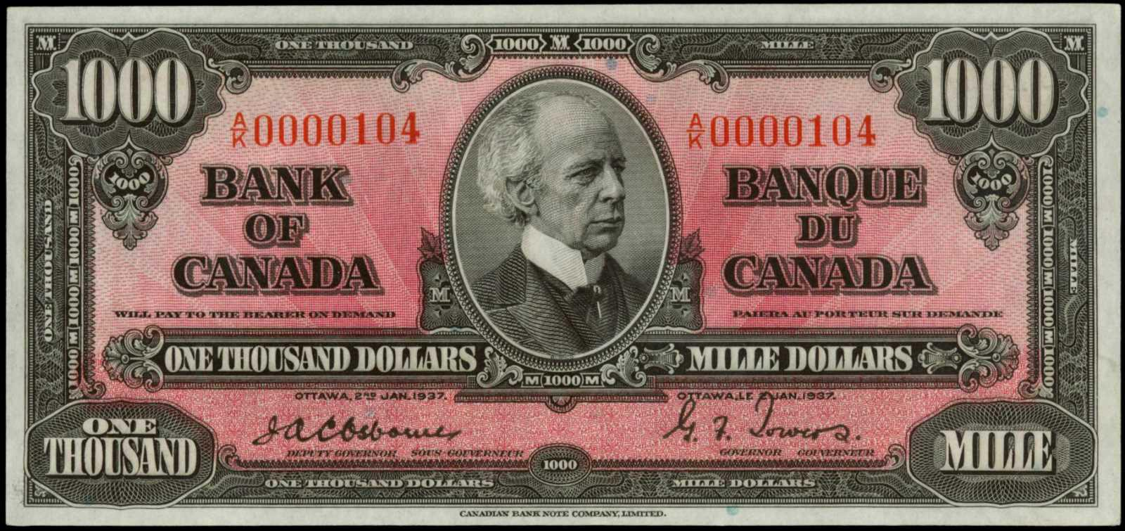 Value of 2nd Jan  1937 $1000 Bill from The Bank of Canada