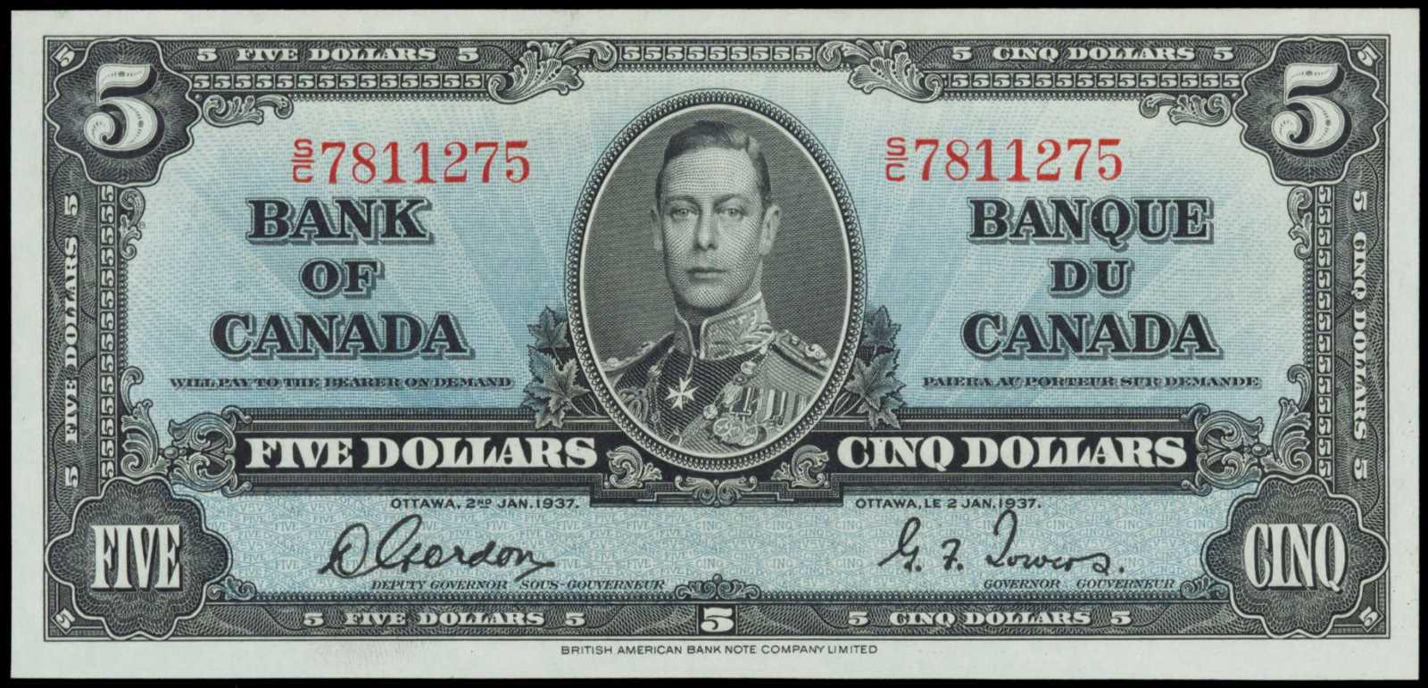 Value of 2nd Jan  1937 $5 Bill from The Bank of Canada