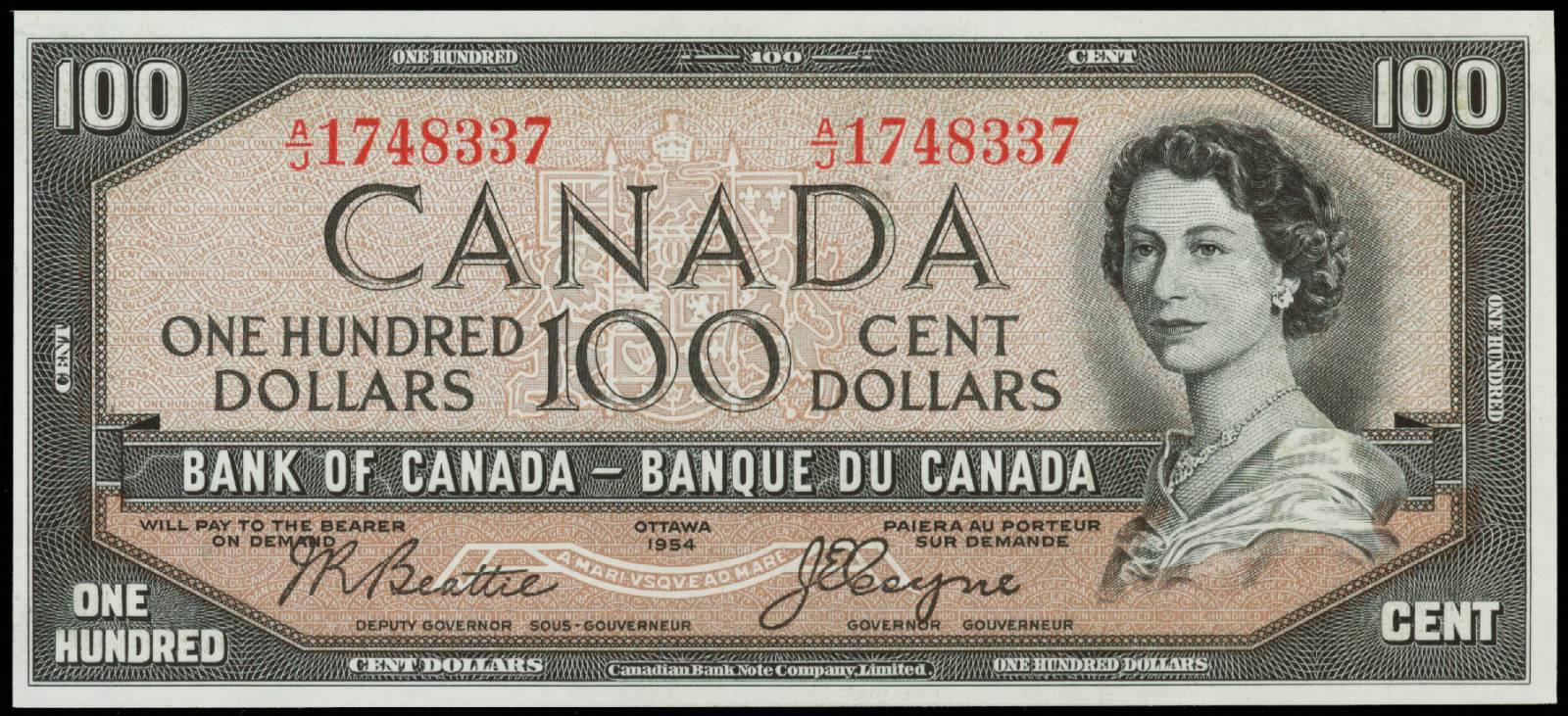 Value of 1954 Devils Face $100 Bill from The Bank of Canada