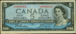 Value of 1954 Devils Face $5 Bill from The Bank of Canada