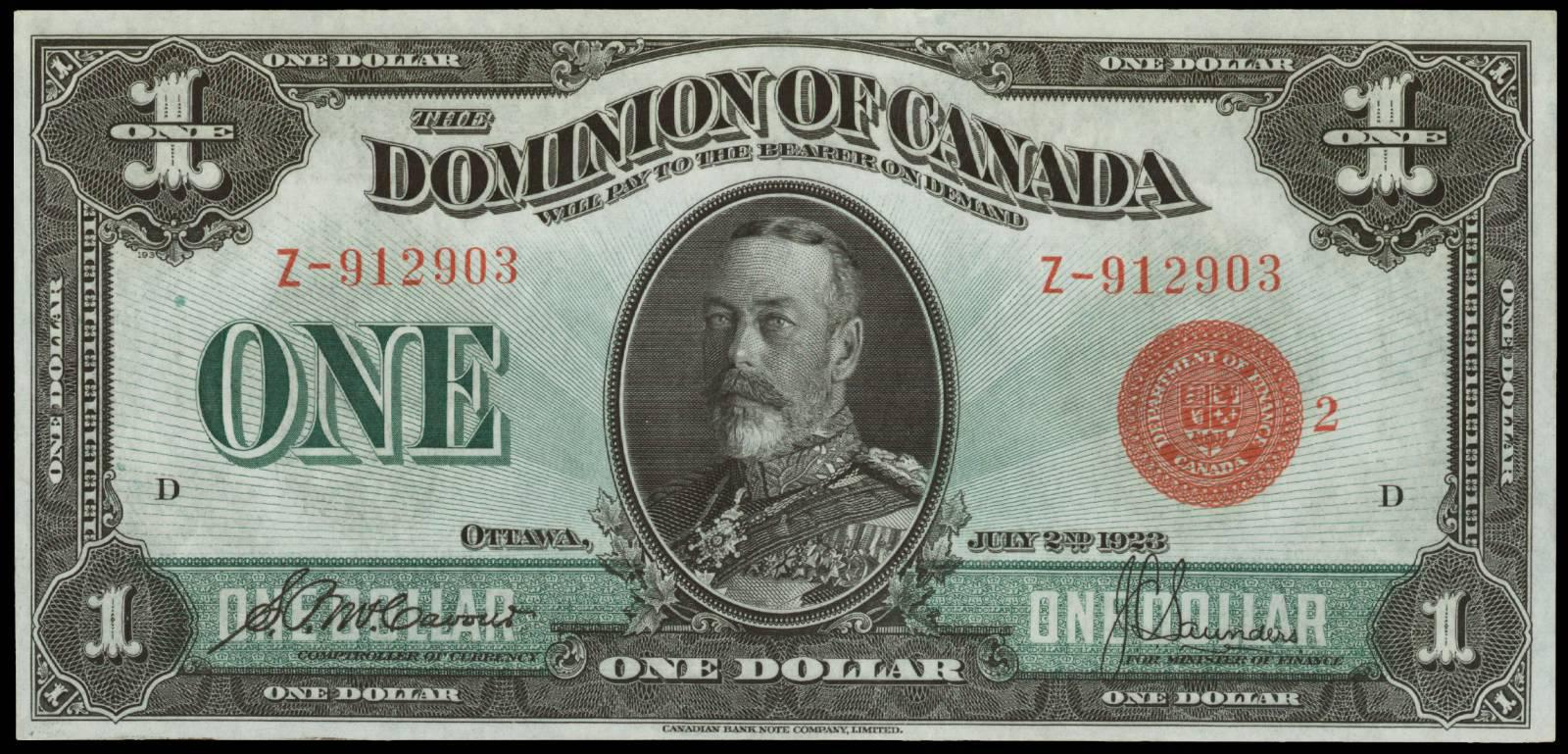 Value Of July 2nd 1923 1 Bill From The Dominion Of Canada