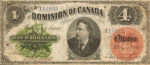 Value of May 1st 1882 $4 Bill from The Dominion of Canada